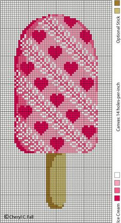 Cross-Stitch Heart Popsicle - I Wonder If I Could Use The Same Graph To Make A Cute Crochet Graphgan For My Daughter?