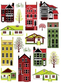 Houses of different styles digital art print by natalieasingh Ribba Frame, Paper Houses, Wooden Houses, House Illustration, Putz Houses, Glitter Houses, Different Styles, Home Art, Print Patterns