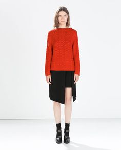 FUNNEL NECK CABLE KNIT SWEATER