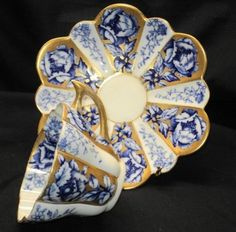 4:00 Tea...Shelley Wileman...Gold and  Royal Blue Rose Snowdrop Pattern Teacup and Saucer