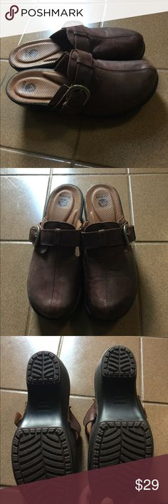 Crocs brown suede clogs new women's size 10 These are crocs brown suede clogs in a women's size 10 new and never worn they sort of have a destructed pebbled suede look, very comfy CROCS Shoes Mules & Clogs