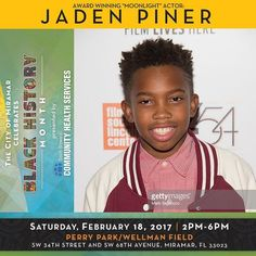 Meet Moonlight Actor #JadenPiner as he joins the Miramar community to celebrate #BlackHistoryMonth! Presented by South Broward Community Health Services the event will take place Saturday February 18 2017 from 2pm-6pm at Perry Park | Wellman Field  SW 34th Street and SW 68th Avenue.  This years event hosted by Chello will lead attendees through a day of fun experiences highlighted by performances from national recording artist JT Money and South Florida hometown favorites-- Old Skool Gang…