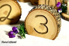 Tbale Numbers... I wanted to do a wood slice underneath the centerpeice but this seems to be a cheaper option to that.