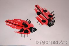 easy insect crafts | This one really is easy – paint your hand red and… print!