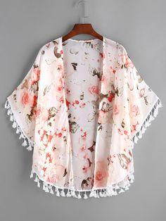 da933d506a588 Shop Allover Ditsy Print Fringe Hem Chiffon Kimono online. SheIn offers  Allover Ditsy Print Fringe