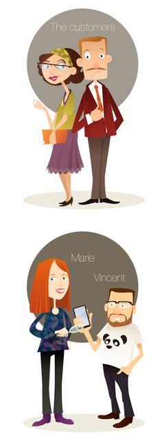 Clever Garden's team illustrations by Corinne Massacry, via Behance