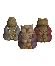 Loving this Cement Animal Buddha Figurine Set on #zulily! #zulilyfinds. These are adorable.