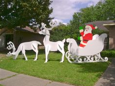 Gigantic Santa, Sleigh Reindeer Set I made for client from The Winfield Collection item # Standing reindeer measures 9 ft. Christmas Light Show, Christmas Yard Art, Christmas Yard Decorations, Christmas Swags, Christmas Wood, Christmas Projects, Christmas Lights, Christmas Flowers, Antique Christmas