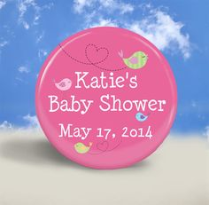 Baby Shower Favors - Hot Pink with Cute Birds by Stuck Together Magnets, $18.50