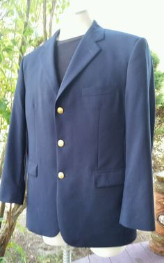 Brooks Brothers wool navy blazer jacket 346 gold buttons 43 #BrooksBrothers #ThreeButton