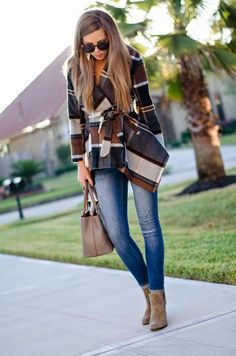 Multi Belted Plaid Cardi