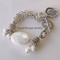 Schaef Designs designer white agate, sterling silver figaro chain & armadillo dot bead multi strand bracelet   artisan handcrafted upscale online jewelry gallery boutique   Schaef Designs Gemstone Jewerly   Signature Collection   San Diego, CA
