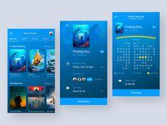 Cinema App UI by Daniel Klopper Popular Mobile Application Design, Mobile Ui Design, Ios App Design, User Interface Design, Library App, Mobile App Ui, Web Design Inspiration, Cinema, Movie