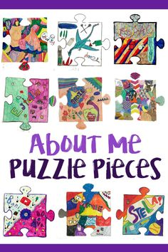 You are part of the puzzle! Each student in my older grades made a puzzle piece about themselves and their interests. I should have written: You are a PIECE of the puzzle. Or, I could hav… Puzzle Piece Crafts, Puzzle Pieces, Collaborative Art Projects For Kids, Group Art Projects, Puzzle Quilt, Puzzle Art, Puzzle Club, Puzzle Piece Template, Puzzles