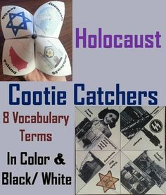 These cootie catchers/ fortune tellers are a great way for students to learn about the Holocaust. How to Play and Assembly Instructions are included.These cootie catchers contain the following vocabulary terms: Anne Frank, Nuremberg Trials, Gestapo, Jewish Ghetto, Crematorium, Yellow Star, Auschwitz, Night of the Broken Glass (Kristallnacht)These cootie catchers come in color and black & white, and also come with a version where students can add their own defin...