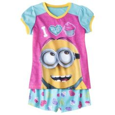 Despicable Me Girls& 2-Piece Short-Sleeve Pajama Set - Blue/Pink cupcakes!! i dont like the minions  but i like the cupcakes