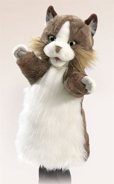 """The easy-to-use Cat Stage Puppet is the purrrrfect feline to host your next puppet show! With wonderful catlike details and butter-soft plush, this meower is the """"cat's pajamas""""!! - Movable mouth and"""