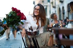 tortoiseshell specs + white button up + belt + khaki skirt | On the Street…..Navigli District, Milan « The Sartorialist