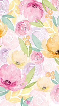 Watercolor Wallpaper, Pastel Wallpaper, Print Wallpaper, Flower Wallpaper, Watercolor Flowers, Phone Wallpaper Boho, Iphone Background Wallpaper, Blue Aesthetic Pastel, Theme Background