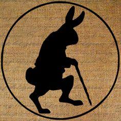 Rabbit Rabbits Silhouette Easter Bunny Bunnies Walking Stick Digital Image Download Transfer To Pillows Totes Tea Towels Burlap No. 3505
