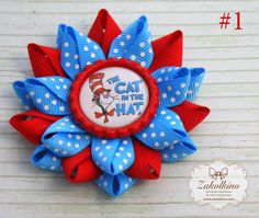 Set of 2 - The Cat in the Hat hair bow - Dr Seuss Hair Bow - Dr Seuss Hair Clip - Dr Seuss Birthday - Thing One and Thing Two Hair Bows Kids Hair Bows, Baby Hair Bows, Girls Bows, Whoville Hair, Thing One Thing Two, Dr Seuss Birthday Party, Ribbon Hair Clips, Bow Pattern, Boutique Hair Bows