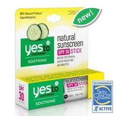 Yes to Cucumbers Natural Sunscreen SPF 30 Stick provides broad spectrum protection and is water resistant (40 minutes). Recommended by the Skin Cancer Foundation as an effective broad spectrum sunscreen, this formula is packed with soothing ingredients that keep skin soft and happy! And best of all, it comes in an awesome, portable stick – making it easy to apply sunscreen anytime and anywhere!