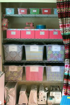 Great craft closet organization., i can cover my shelf with a curtain