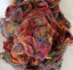 4 oz Recycled Carded Sari Silk  Colorful and Fun  by WCMercantile, $10.99