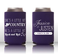 A Little Bit Country, A Little Bit Rock and Roll - Custom Wedding Koozie - Personalized Coozie Can Cooler Wedding Favor