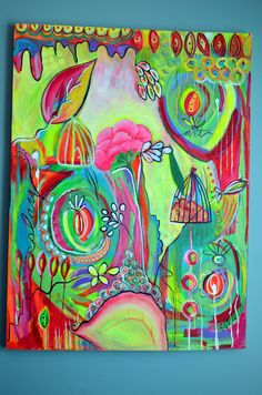 Wildly Neon Floral  Acrylic Abstract Painting by TwoBrownBeans, $295.00