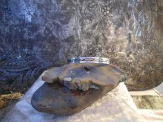 Cyber Sale Vintage Sterling Silver Signed Bracelet Cuff Inlaid Brass egl ooak rococo southwest hippie boho sundance jewelry rustic jewelry by LandofBridget on Etsy