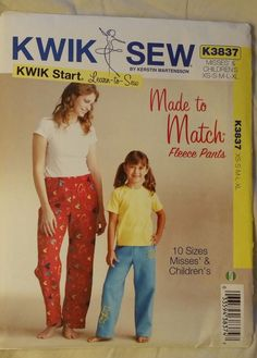 Kwik Sew Pattern K3837 Learn To Sew Fleece Pants Misses misses/child XS-XL #McCalls