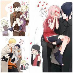 Sai x Ino Naruto x Hinata Sasuke x Sakura Anime Naruto, Naruto Fan Art, Naruto Sasuke Sakura, Naruto Comic, Naruto Uzumaki Shippuden, Naruto Cute, Otaku Anime, Manga Anime, Naruto Pictures