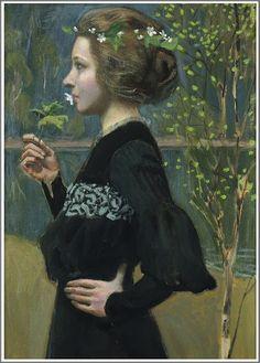 ⊰ Posing with Posies ⊱ paintings of women and flowers - Akseli Gallen-Kallela | Printemps, 1903