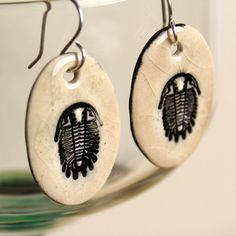 Trilobite Ceramic Earrings in Mocha Crackle by surly on Etsy, $22.00