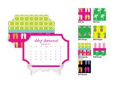 2016 Desk Calendar / Custom Calendar / Calendar with Stand / Bookplate Calendar / 2017 Calendar / Monogrammed Calendar Planner Preppy by DetailsandPaper on Etsy