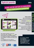 APB parents: Ce guide a pour objectif d'expliquer aux parents d'élèves de terminales la procédure Admission Post-Bac. (France)