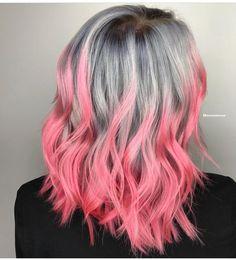 Love this grey and pink hair! #hair #haircolor #pinkhair