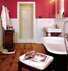 """Not generally a fan of the cliche pink for a little girl's room (yes, I realize the photo is a bathroom)--this combo of snazzy raspberry with creamy white, however, is delicious and could take her into childhood for years.  At least unless she hits the """"I hate pink!"""" phase :)"""