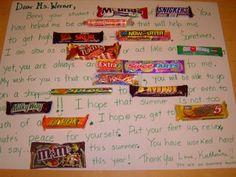 teacher appreciation, candy gram