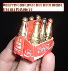 Vintage Miniature Old Coca Cola Coke Brass Soda Pop Bottles in Carton Rare