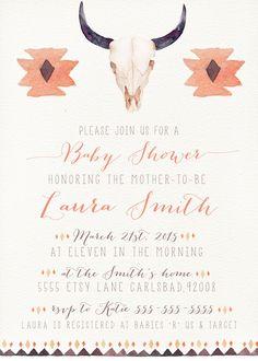 Boho Baby Shower Invitation Cow Skull by kreynadesigns.etsy.com