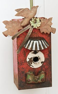 Birdhouse Metal Birdhouse Reclaimed Objects Birdhouse by channa01  $125.00