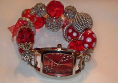 Red and Silver Beaded Watch Band and Face  Chunky  by BeadsnTime, $30.00