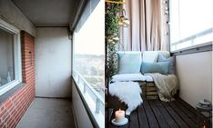 5 DIY tips for a glam balcony on a low budget - Inredningsvis Small Balcony Decor, Balcony Ideas, Micro Apartment, Compact Living, Outdoor Rooms, Porch Swing, Decoration, Small Spaces, New Homes