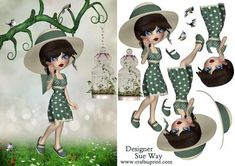 Modern Millie Bird Watching Card Front Decoupage on Craftsuprint designed by Sue Way - A sweet cookie girl dressed in a green polka dot 1920's style summer dress