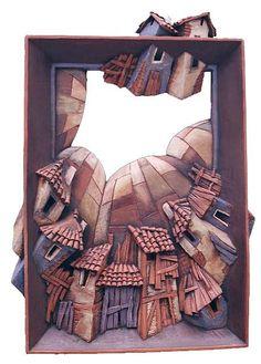 The Flying Houses 2 Ceramic Art by Yavor Gonev