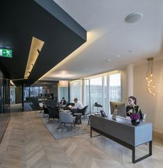 CBRE Offices – London. Reception. Herringbone wood floor