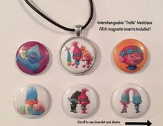 Trolls Interchangeable Magnetic Necklace and by BellyLaughButtons