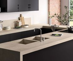 Porcelain is the best possible material for making kitchen countertops because of its strength nonabsorbency and aesthetic quality Porcelain Countertops, Porcelain Tile, Kitchen Countertop Materials, Kitchen Countertops, Outdoor Table Tops, Paris Kitchen, Restaurants, Italian Home, Cool Kitchens